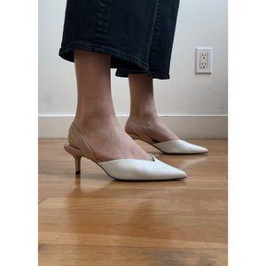 White leather kitten heels